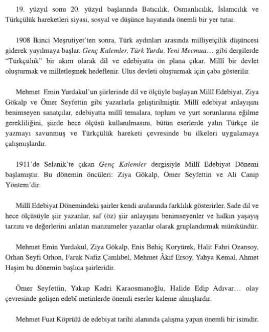 AÖL Türk Edebiyatı 6 Konu Özeti (Milli Edebiyat)