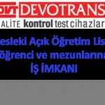 Mesleki Açık Lise öğrenci ve mezunlarına iş imkanı İstanbul